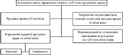 Елементи змісту правового статусу суб'єктів трудового права