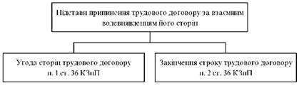 Підстави припинення трудового договору за взаємним волевиявленням його сторін